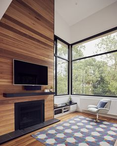 Wood brings warmth and elegance to the small reading nook