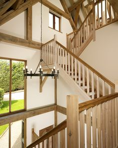 Bespoke oak framed buildings and garden rooms Stair Railing, Stairs, Bespoke Staircases, Oak Framed Buildings, Oak Frame House, Energy Efficient Homes, Timber House, Staircase Design, Beautiful Interiors