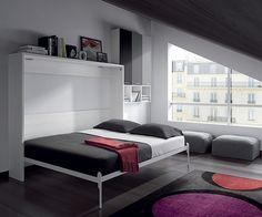 cama plegable pared de matrimonio abierta, una cama principal o para invitados en muy poco espacio www.moblestatat.com horta guinardó barcelona