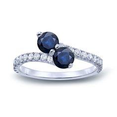 Auriya 14k Gold 1 1/2ct Blue Sapphire and 1/2ct TDW Diamond 3-prong, 2-stone Engagement Ring (H-I, I1-I2) (Rose Gold - Size 4), Women's