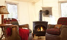Luxurious canvas cabin with gas fireplace