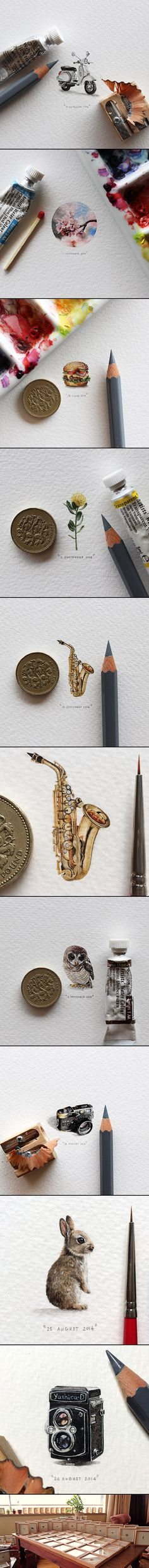 Postcards for Ants is an ongoing painting project by Cape Town artist Lorraine Loots who has been creating a miniature painting every single day since January 1, 2013. The artist works with paint brushes, pencils, and bare eyes to render superbly detailed paintings scarcely larger than a small coin.