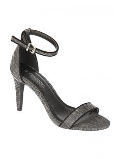 get your dancing shoes on this Christmas and opt for these black lurex heel. In a classic two part sandal, stiletto heel and metallic finish, these are the p.