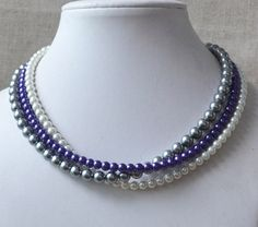 white gray purple pearl necklace3-rows mixed by goodglasspearl