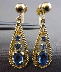 ANTIQUE LARGE 2.20CT AAA BLUE TOPAZ 14KT YELLOW GOLD DROP HANGING EARRINGS 23841