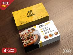 PSD Fast Food Restaurant Business Card Design designed by PSD Zone. Layout Design, Name Card Design, Free Business Card Templates, Free Business Cards, Templates Free, Fixer Upper, Visiting Card Design, Bussiness Card, Fast Food
