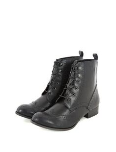 Black (Black) Black Lace Up Brogue Boots | 294407601 | New Look