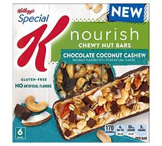 Kellogg's Special K Nourish Chocolate Coconut Cashew Chewy Nut Bars - Calories In Sugar, Nut Bar, Granola Bars, Protein Bars, Luxury Packaging, Packaging Design, Coconut, Gluten Free, Sin Gluten