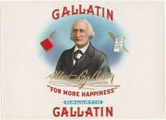 Gallatin Original Vintage Unused Embossed Inner Cigar Box Label by Consolidated