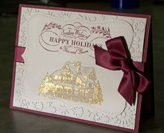 Set of 4 Gold Embossed Christmas Lodge Cards by WhimsyArtCards, $14.00 - Absolutely GORGEOUS!!!