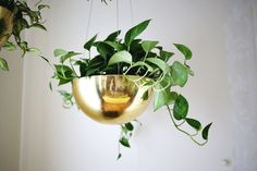 Hanging Vintage Brass Planters - A Beautiful Mess Decor, Hanging Planters, Brass Planter, Furniture Decor, Hanging, Hanging Plants Indoor, Brass Pot, Vintage Brass, Vintage