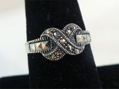 Vintage STERLING Silver & MARCASITE Eternity Ring / Band Size 9 by MarlosMarvelousFinds, $29.99