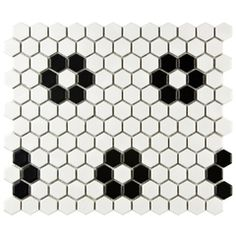 "1"" Hexagon Flower Pattern Mosaic Tile - Black & White Rosette Patter (Matte Finish)"