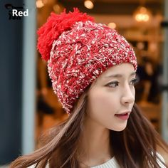Hairball knit hats for winter wear womens hat
