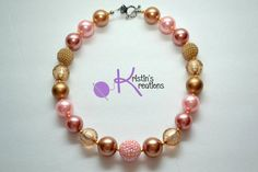 Vintage-look Pink & Gold Chunk Necklace by KristinsKreations11