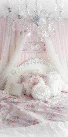 Boudoir:  A not-so-shabby Shabby Chic #bedroom.