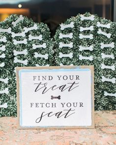 Escort card ideas, escort cards shaped as dog treats with sign that says 'Find your treat, fetch your seat' {Rachel Havel} Wedding Seating Cards, Reception Seating, Wedding Signage, Wedding In The Woods, On Your Wedding Day, Dream Wedding, Signature Cocktail, Wedding Decorations, Wedding Ideas