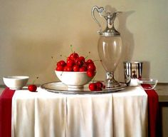 Sweet Cherries in a White Bowl by Tony de Wolf