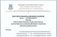 FORMAT SURAT SISWA KELULUSAN SMP KEPUTUSAN KEPALA SEKOLAH TAHUN PELAJARAN 2015