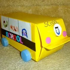 Teach prepositions with this Milk Carton School Bus Craft and a small toy. Discuss the relationship to the bus and the toy. Another idea: mouse and a house (the milk carton is the house). You can easily save small milk cartons from kids lunch! School Bus Crafts, Back To School Crafts, Magic School Bus, School Fun, School Projects, School Buses, Art Projects, Craft Activities For Kids, Preschool Crafts