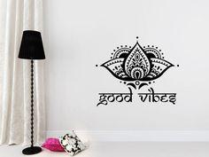 Good Vibes Wall Decal Yoga Studio Lotus Flower Decals Vinyl Sticker Ornament Moroccan Pattern Namaste Home Boho Decor Bohemian Bedroom T102