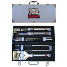 "Alabama Crimson Tide NCAA 8pc BBQ Tools Set. Our collegiate 8 pc BBQ set includes a spatula with knife edge; grill fork; tongs; basting brush and 4 skewers. The tools are approximately 19 long and have sturdy stainless steel handles. The aluminum carrying case features a metal carved emblem with enameled finish."" Availability: Usually ships within 5-7 business days."