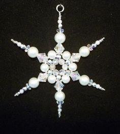 Snowflake Ornament - White Pearl Silver and Clear AB