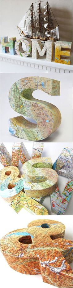 Beautiful handmade 3D map letters to give as gifts or keep as stylish pieces in your home. You choose the letter & the map/location to personalize it with. | Made on Hatch.co