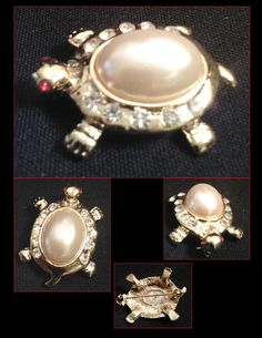 Vintage Pearl Cabochon Shell Turtle Brooch Pin by PurpleHazeDayz, $12.00