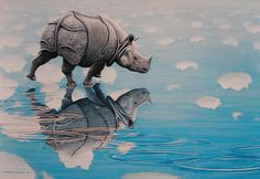 Rhino walking on water, painting Jeroen Verhoeff. | Flickr - Photo ...