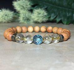 Womens Aqua Aura Quartz Bracelet, Rutilated Quartz Bracelet, Aromatic Sandalwood Bracelet, Wrist Mala, Cleansing and energizing the aura, Calming