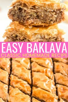 This easy and Classic Baklava recipe is loaded with layers of cinnamon, nuts, and butter and saturated in a simple honey syrup! Everyone will love this sweet and sticky dessert! Easy Desserts, Delicious Desserts, Yummy Food, Tasty, Health Desserts, Best Easy Dessert Recipes, Greek Desserts, Gourmet Recipes, Sweets