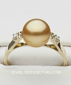 Golden South Sea pearl ring with two diamonds from Piccadilly Collection