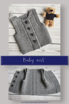 Knit baby vest Baby waistcoat - Knits for babies Baby Knitting Patterns, Baby Clothes Patterns, Baby Patterns, Clothing Patterns, Outfits With Hats, Kids Outfits, Knit Vest Pattern, Easy Knitting, Knitting Needles