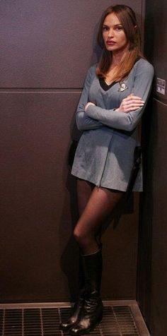 Jolene Blalock - Commander T'Pol | Star Trek: Enterprise - She looks mad like how dare she get over dressed.