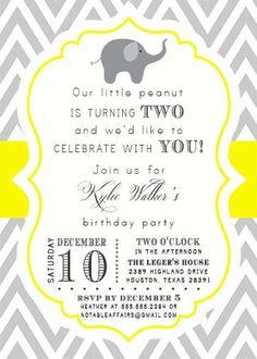 Gray and Yellow Chevron Elephant 2nd Birthday Party invitation - for any birthday