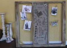 Old window; covered cork board and chicken wire. DIY