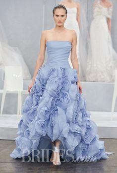 """Floressa"" strapless blue silk gauze A-line wedding dress with a draped bodice and floral skirt, Monique Lhuillier"