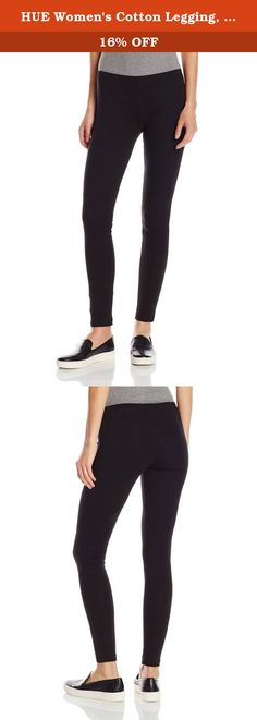 HUE Women's Cotton Legging, Black, Medium/02. HUE cotton leggings are the hottest, must-have leggings accessory. These ankle length cotton leggings can be worn alone or under a long tunic for a great look.