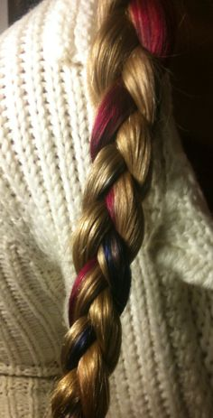 My hair with freshly dyed streaks. La rich'e Directions in colors Cerise and Neon Blue on unbleached golden blonde hair.
