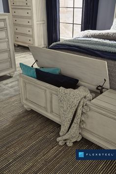 Harmony's queen storage bed provides ample storage in the footboard. #FlexsteelFurniture #ThisIsHowWeDwell #BuiltToLast #BedroomDesign #Bedroom #BedroomInspiration #BedroomStyling Perfect Bedroom, Bedroom Inspirations, Purchase Furniture, Flexsteel Furniture, Storage Bed, Fresh Bedroom, Bed Storage, Leather Furniture, Occasional Furniture