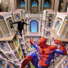 Kurt Wenner's Amazing Spiderman Street Art