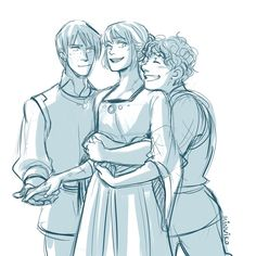 Merric of Hollyrose, Keladry of Mindelan (in a DRESS), and Owen of Jesslaw - LOVE Tamora Pierce's Protector of the Small series
