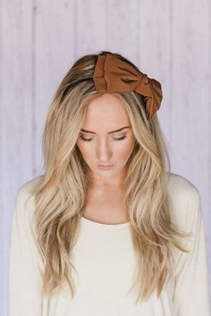 Missy Camel Brown Oversized Bow Hair Band