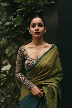 Green cotton saree with black embroidered blouse. Click on picture to see saree price. #Frugal2Fab