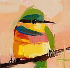 Bee Eater no. 5 original bird oil painting by Angela Moulton #prattcreekart