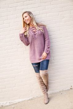 Mauve Lace-Up Sweater, $46.99, Free Shipping | pink, mauve, light, pastel, purple, lilac, lavender, solid, solid, lace, lace up, lace-up, laces, tie, ties, tunic, tunics, shirt, shirts, top, tops, blouse, blouses, sweater, sweaters, cute, adorable, perfect, soft, comfortable, 2016, fashion, style, blogger, blog, boutique