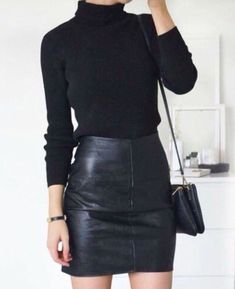 Black leather + black wool