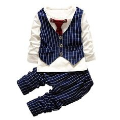 Baby Boy Long Sleeve Clothes Sets Gentleman Suit Kids Boy Formal Clothing Set 4Years Dark Blue ** Want additional info? Click on the image.