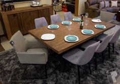 Mesa rect. 66217, silla industrial gris 66237, sillon ocasional 66251, buffet Lucerna 56138